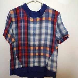 Thakoon Addition Plaid Printed Short Sleeve